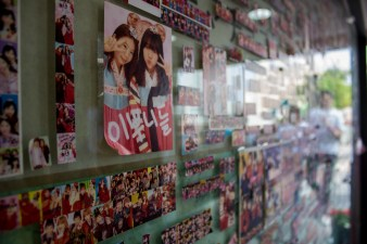 wall filled with purikura stickers