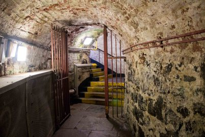 The tunnel leading to the courthouse from the prison