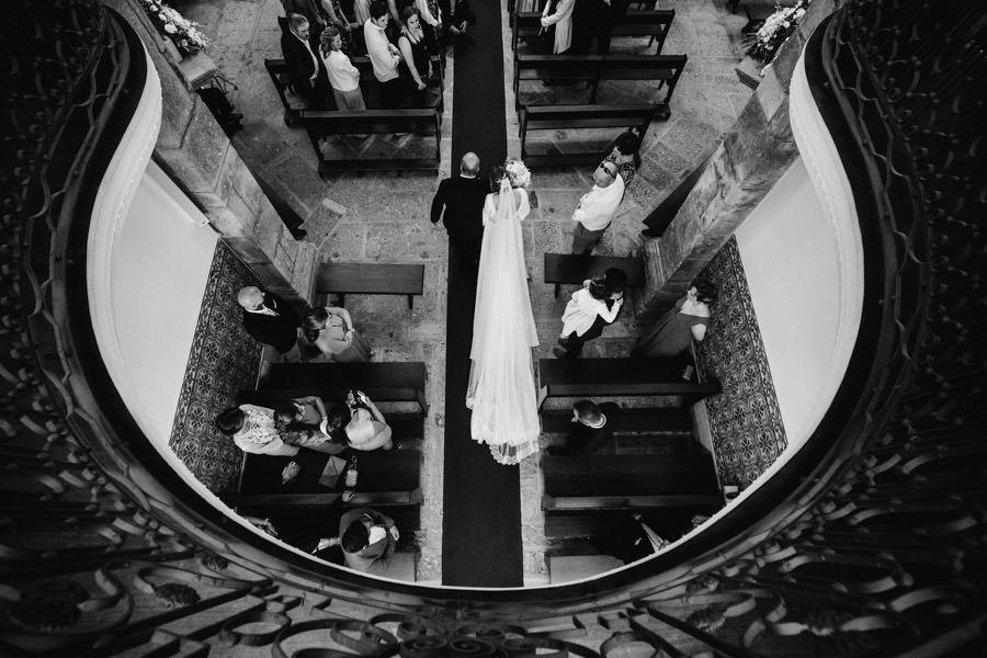 fotografia de casamento entrada da noiva vista de cima
