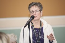 Sara Jane Schmidt of River East MB Church, Winnipeg, addresses delegates during an open mic discussion about best practices in church ministry. Photo by Carson Samson