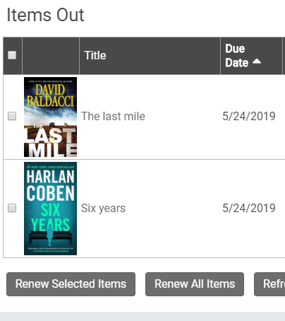 Cover artwork visible in the Items Out page