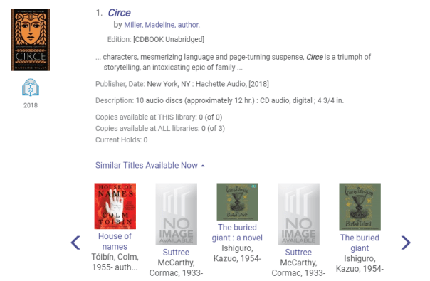 Similar titles displayed under catalog search result