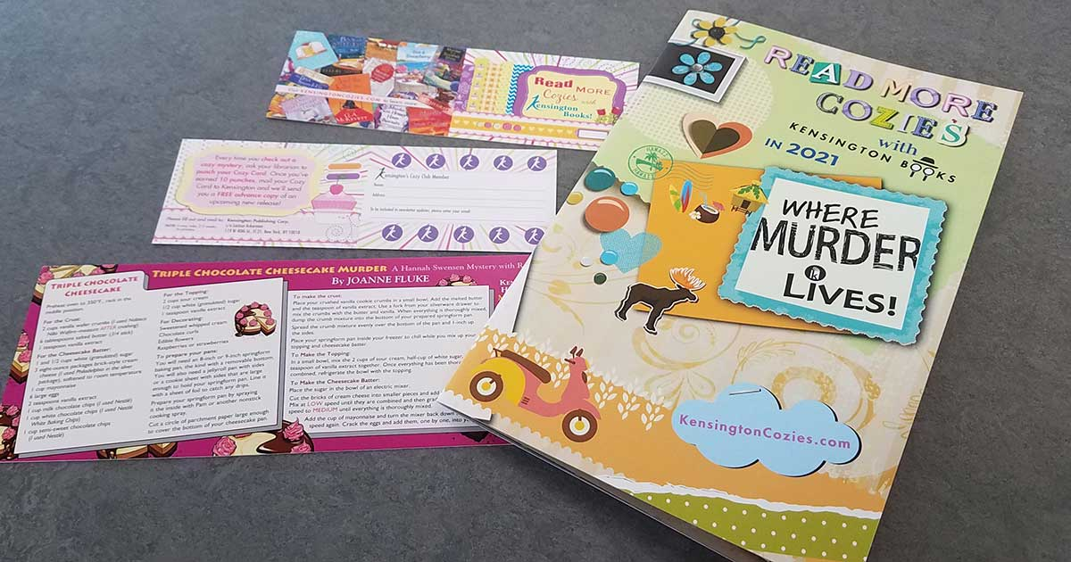 Cozy Mystery Club card and booklet