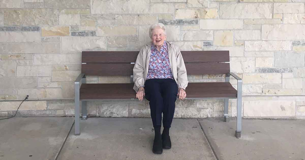Rightie sitting on her bench