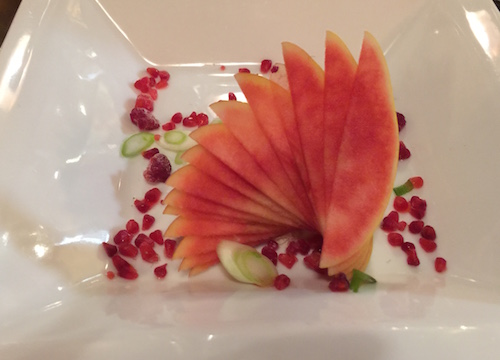Apple with Pomegranate Seeds by Chef Shon of Sego Restaurant, Kanab UT