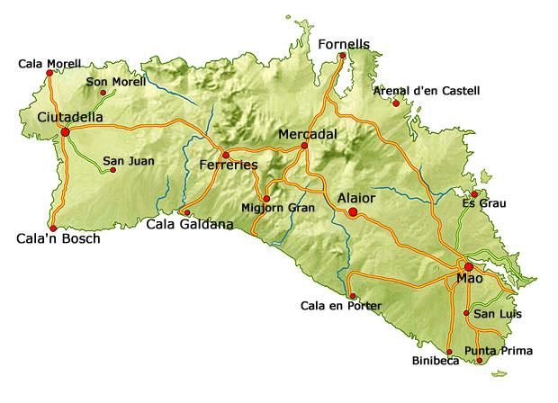 menorca karte mit allen stranden detaillierte karte menorca
