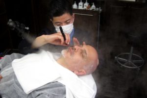 Japanese barber shaving