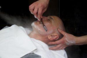 Japanese barber shaving