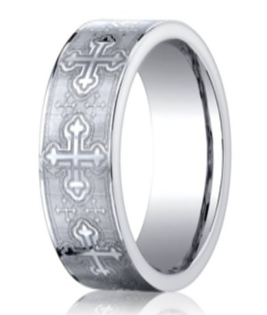Designer Cobalt Christian Wedding Band With Crosses