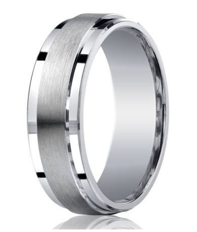 Mens Designer Silver Satin Wedding Ring Polished Step