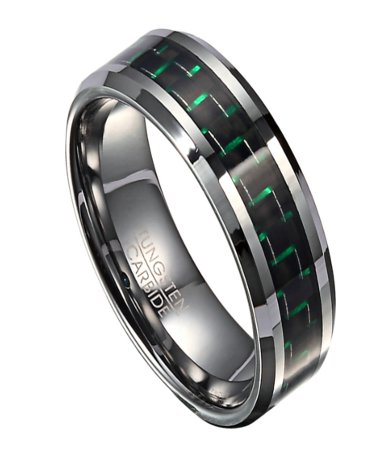 Tungsten Mens Wedding Band With Green Carbon Fiber