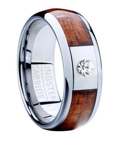 Mens Tungsten Ring With Koa Wood And CZ