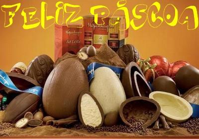 imagem feliz Páscoa recheada com muito chocolate