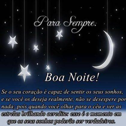 boa noite com sonhos e muita paz