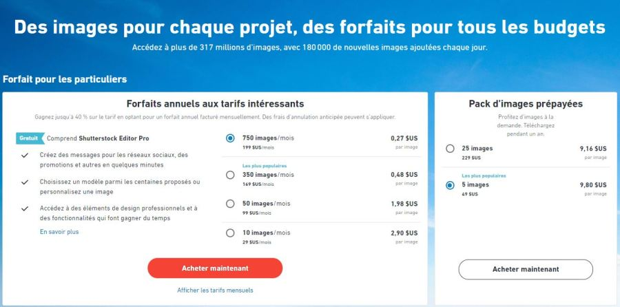 banques d'images forfaits shutterstock