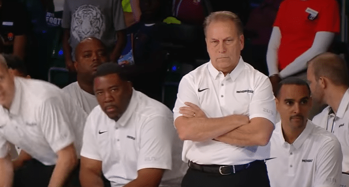 Tom Izzo Michigan State DHO Horns Chin Play