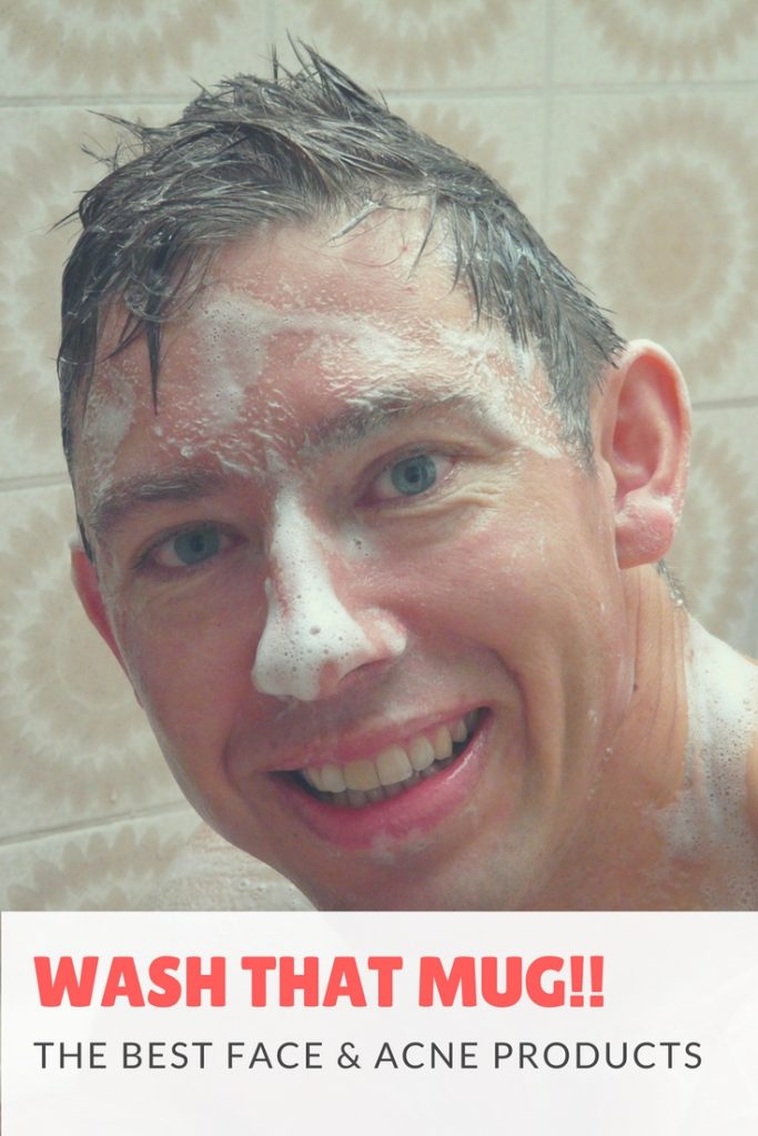 "image of man with soap on his face saying ""wash that mug"""