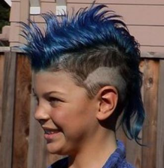 Kids Punk Hairstyle With Blue Hair And Spiky MohawkJPG