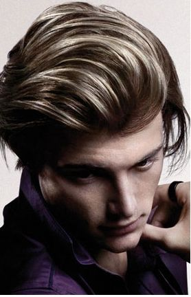 Men Highlight Hairstyle With Layers And Very Long Bangs