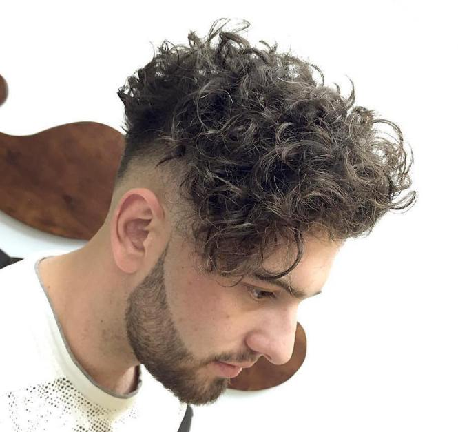Short Haircut Styles Haircuts For Curly Hair Men He Wear A Shirt Looks Cute And Handsome Him Without Moustache Beard Grey Plain Background