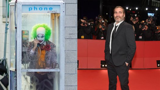 L: Joaquin Phoenix is seen filming a scene for 'Joker' in Brooklyn on September 24, 2018 in New York City. (Photo by Gotham/GC Images), R: Joaquin Phoenix attends the 'Don't Worry, He Won't Get Far on Foot' premiere during the 68th Berlinale International Film Festival Berlin at Berlinale Palast on February 20, 2018 in Berlin, Germany. (Photo by Franziska Krug/Getty Images)