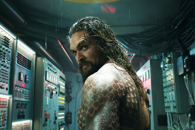 Jason Momoa's Aquaman, with Jason Momoa, Amber Heard, Patrick Wilson, Dolph Lundgren, Willem Dafoe, Nicole Kidman, and Yahya Abdul Mateen II / Warner Bros.