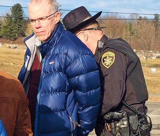 Mckibben is arrested for blocking a gas facility