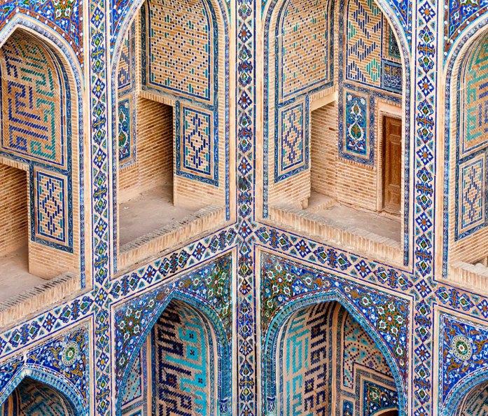 Second floor rooms above courtyard of Ulugbek Medressa, Registan