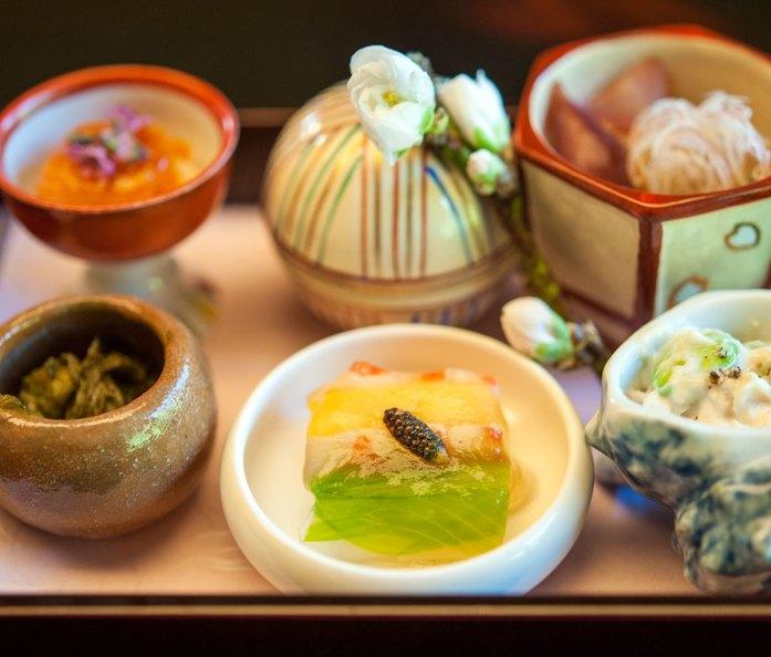 Assortment of salads at Kikunoi