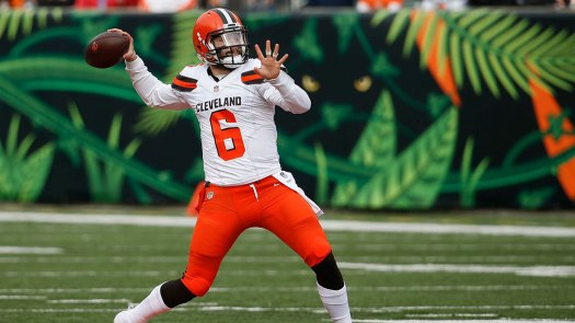 Cleveland Browns quarterback Baker Mayfield prepares to throw in the first half of an NFL football game against the Cincinnati Bengals, in Cincinnati