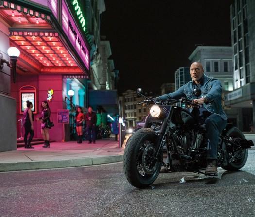 """Luke Hobbs (Dwayne Johnson) on a custom Harley Davidson in """"Hobbs & Shaw"""""""