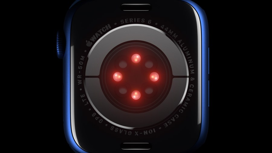 The Blood Oxygen sensor employs LEDs, along with photodiodes on the back crystal of Apple Watch Series 6.