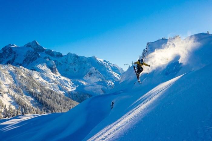 Micah Evangelista skiing at Mount Baker.