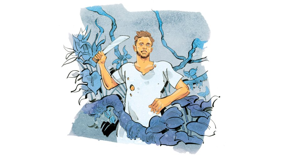 Illustration of a man in the wilderness