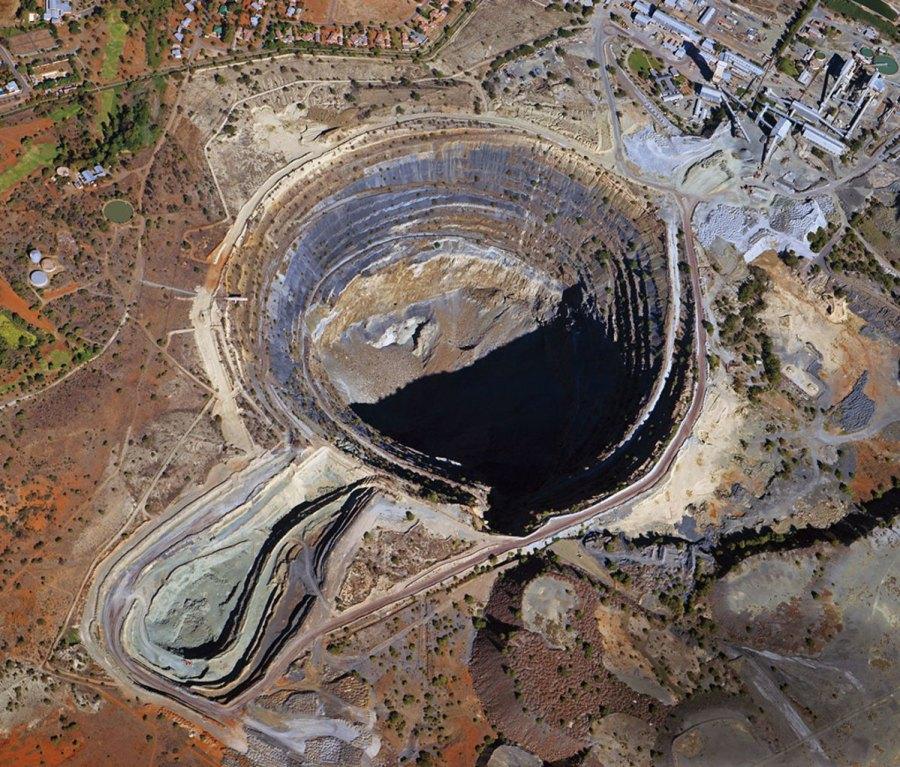 Aerial shot of open mine