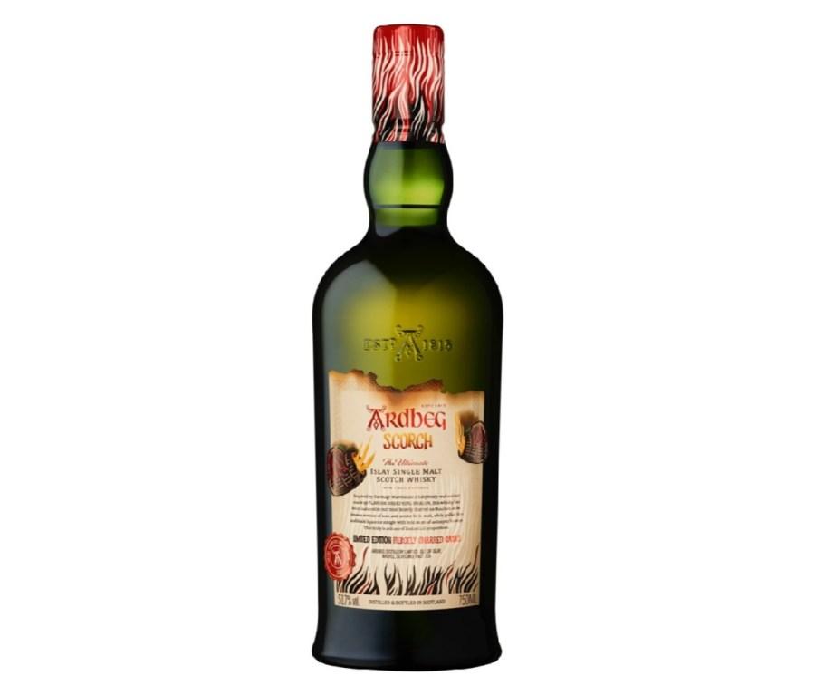 A bottle of Ardbeg Scorch. The label appears slightly burnt.