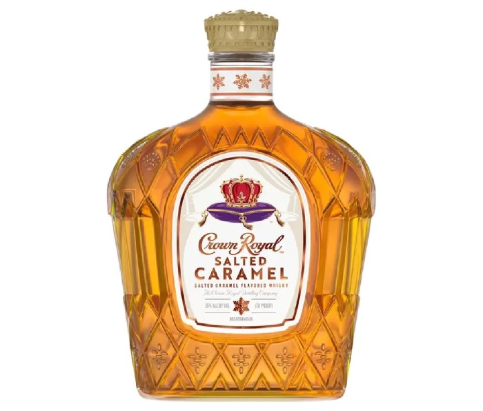 A bottle of Crown Royal Salted Caramel whiskey.