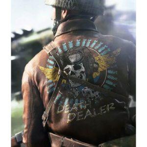 Death Dealer Skull Battlefield V Leather Brown Jacket