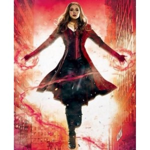 Captain's America Wanda Maximoff Red Costume Leather Coat