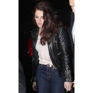 Kristen Stewart Quilted Motorcycle Black Jacket