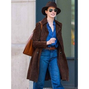 Anne Hathaway Suede Coat