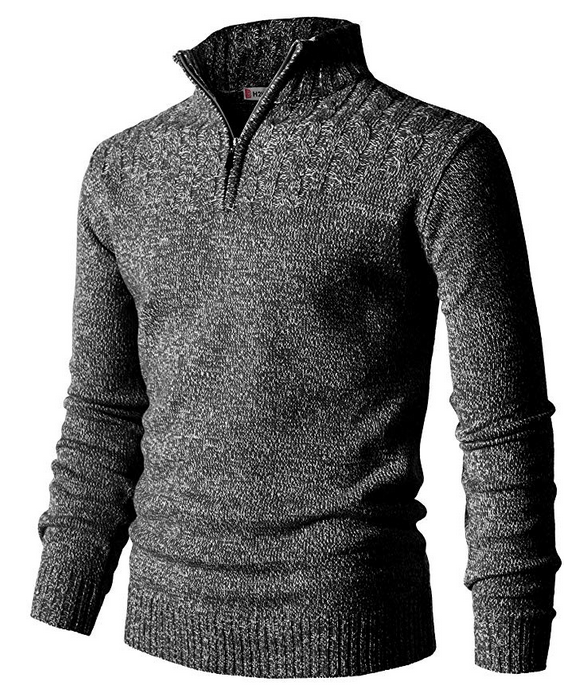 H2H Mens Casual Slim Fit Pullover Sweaters Mock Neck Zip up