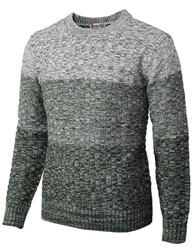 Mens Ribbed Knit Pullover Sweater Crewneck Twisted Casual Long Sleeves Sweaters Solid Color