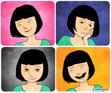 Illustration of mood swing, a girl with happy expression, sad expression, depressed expression and expression of feeling delighted - Menstrupedia
