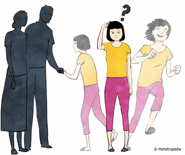 illustration of conflicting thoughts, a girl stuck between the thoughts of staying with her parents and the thoughts of leading an independant life - Menstrupedia