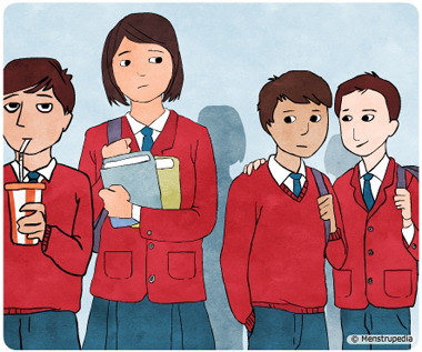 Illustration of a tall school girl feeling conscious around shorter school boys - Menstrupedia