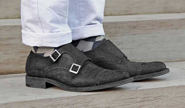 o'keeffe double monk strap shoes brogued