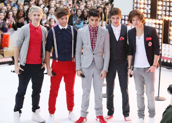 One Direction Boy Band 2012 - Trainers, red suit, braces