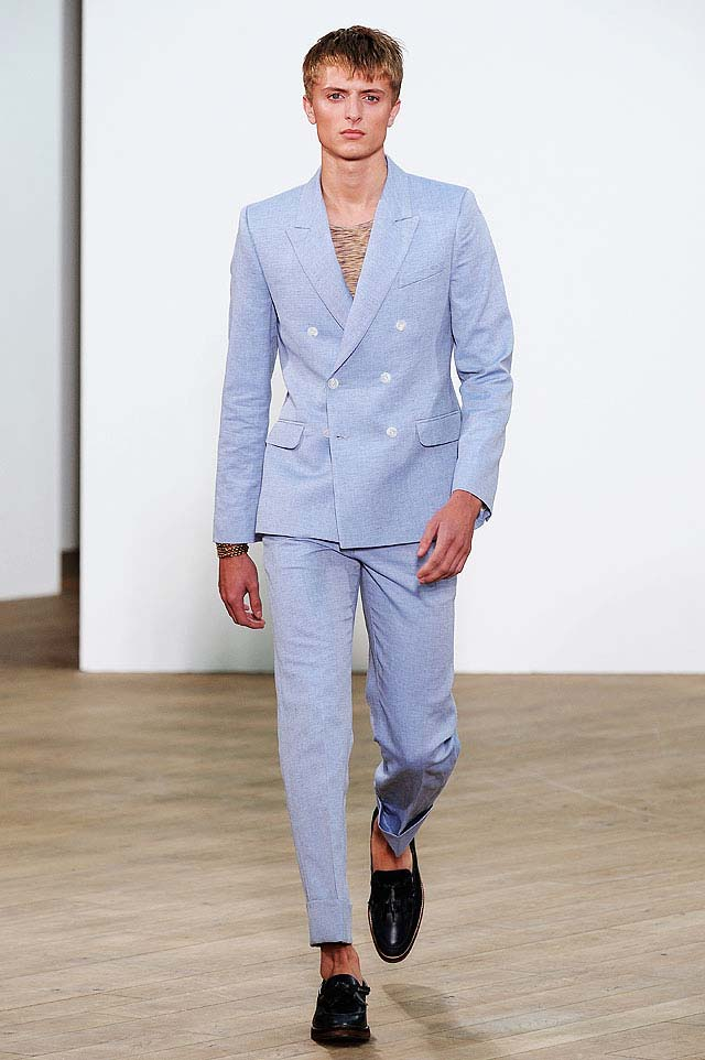 Topman double breasted blue linen suit