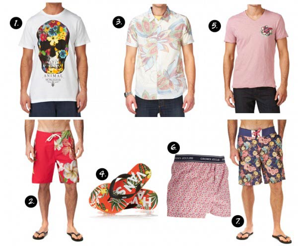 Surf floral shirts for men slippers and shorts